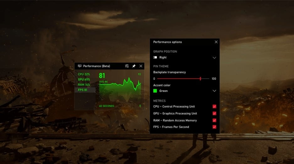 Windows 10 fpx xbox game bar