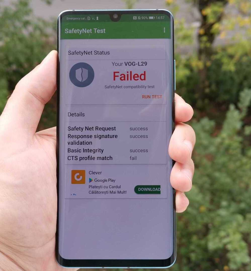 huawei p30 pro blocate google safetynet