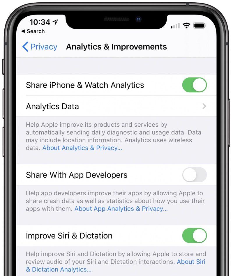 iOS 13.2 dezactivare monitorizare siri