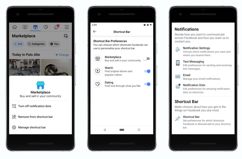 Facebook reorganizare scurtaturi