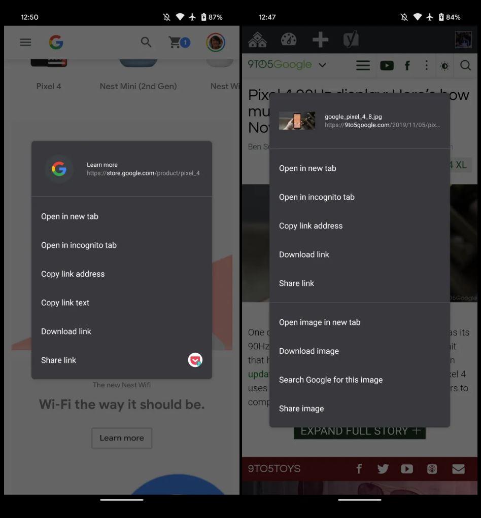 Google Chrome meniu contextual android