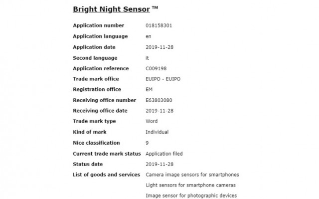 Samsung GALAXY S11 bright night sensor