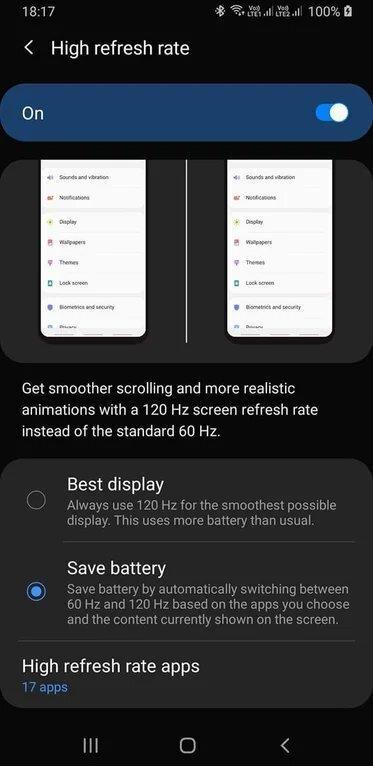 Samsung GALAXY S11 rata refresh 120 Hz