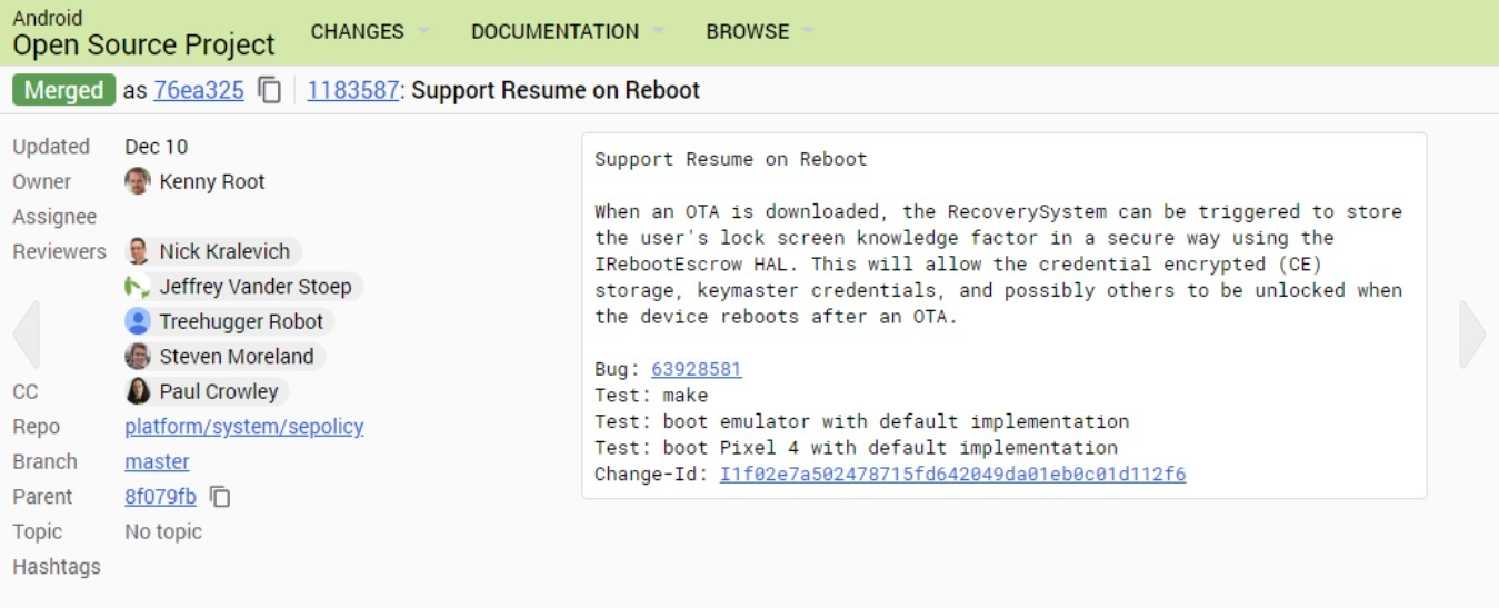 Android resume o reboot