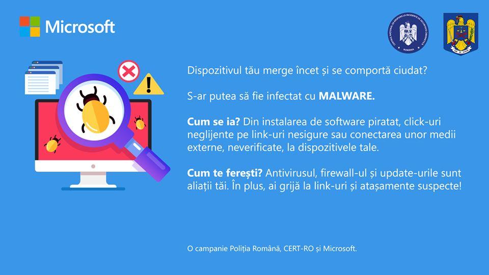 Windows 10 avertizare politia romana microsoft malware