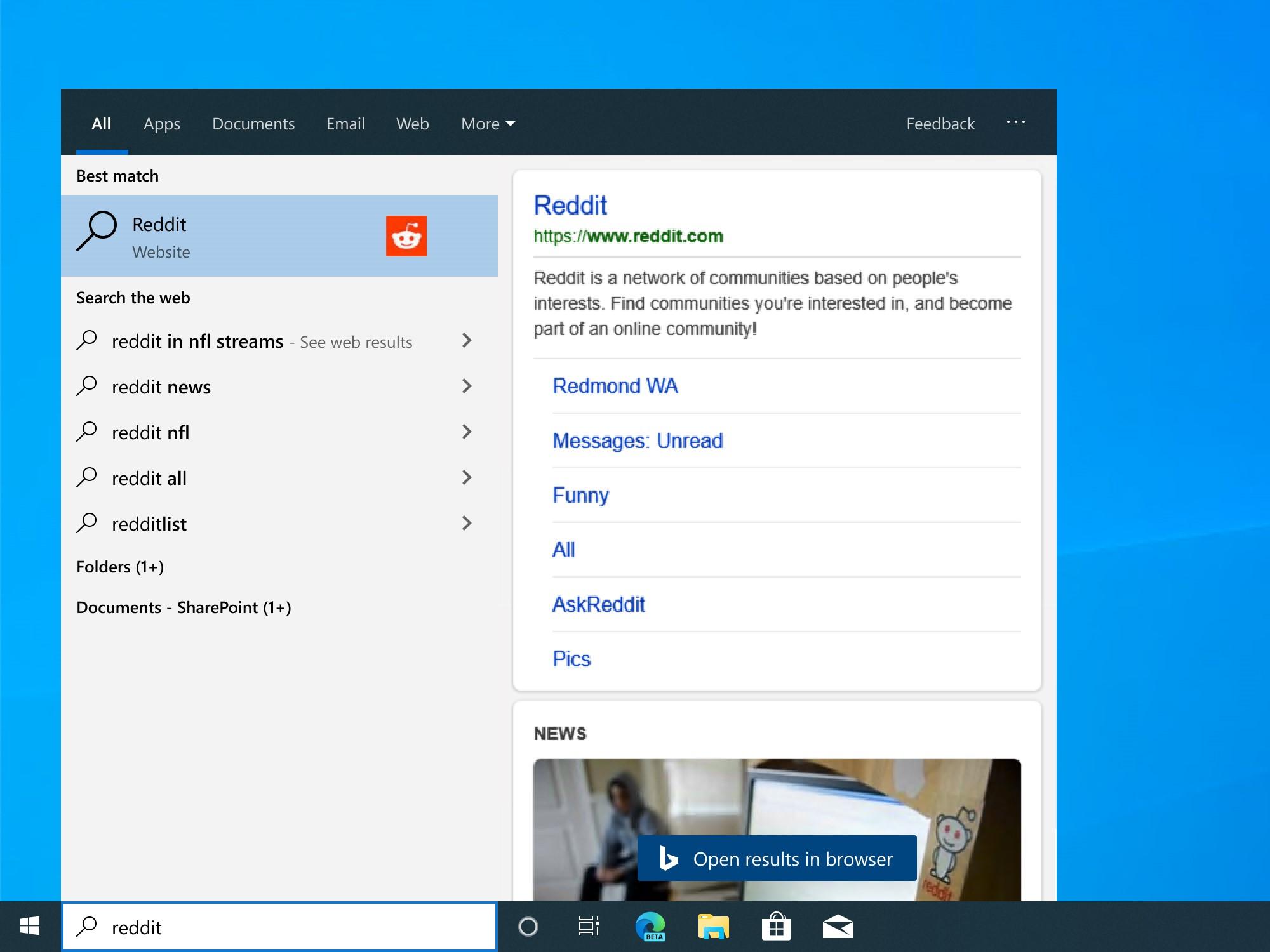 Windows 10 bing start menu