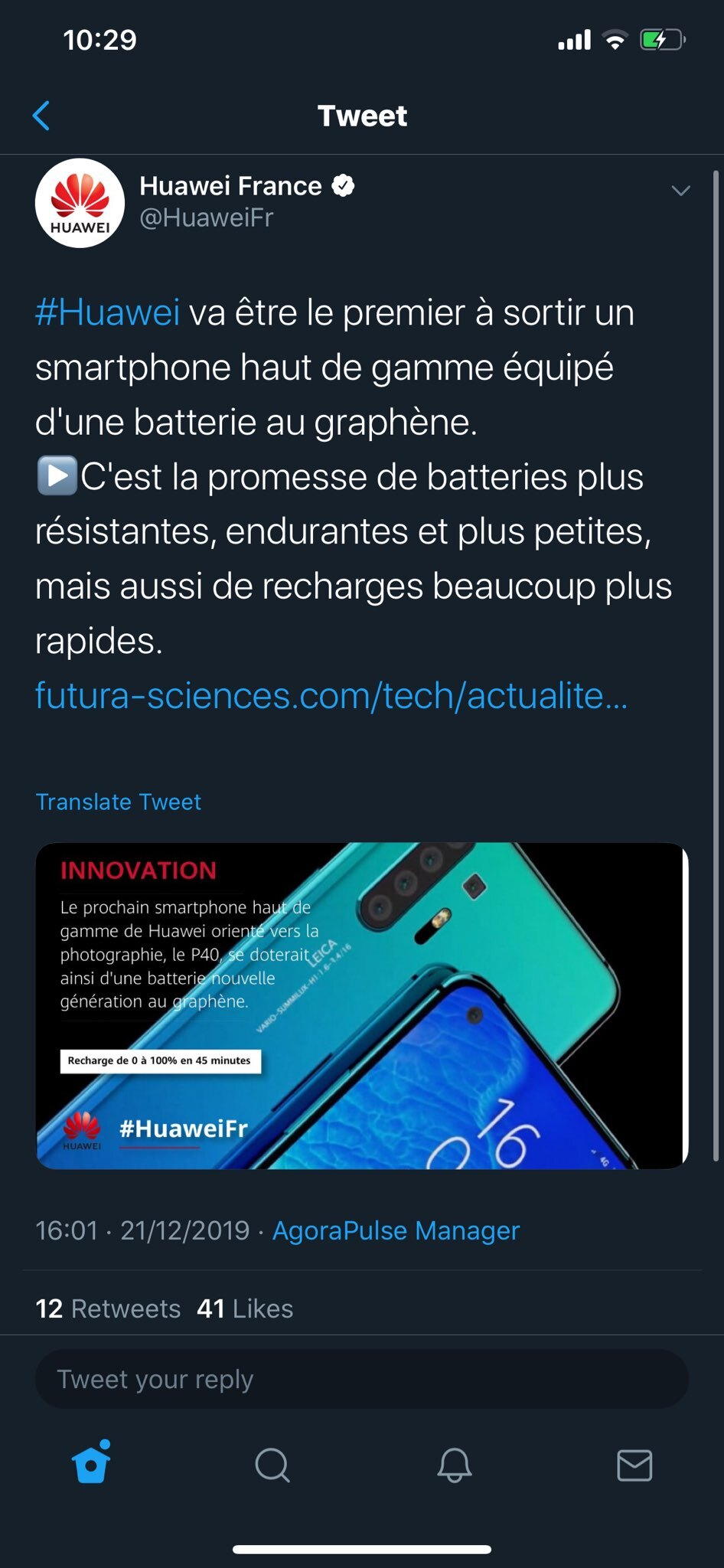 baterie grafen Huawei P40 Pro