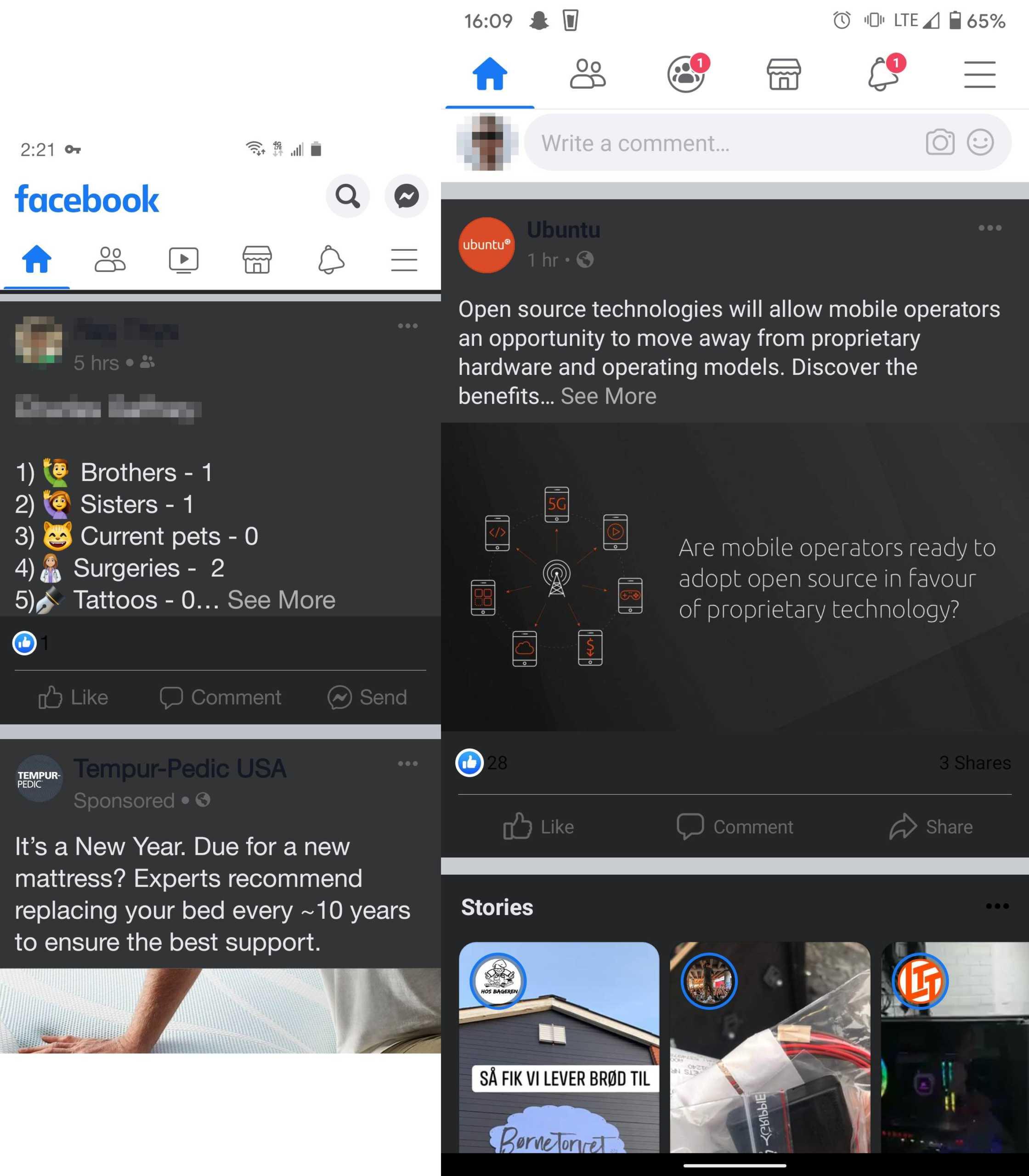 Facebook dark mode android interfata aplicatie