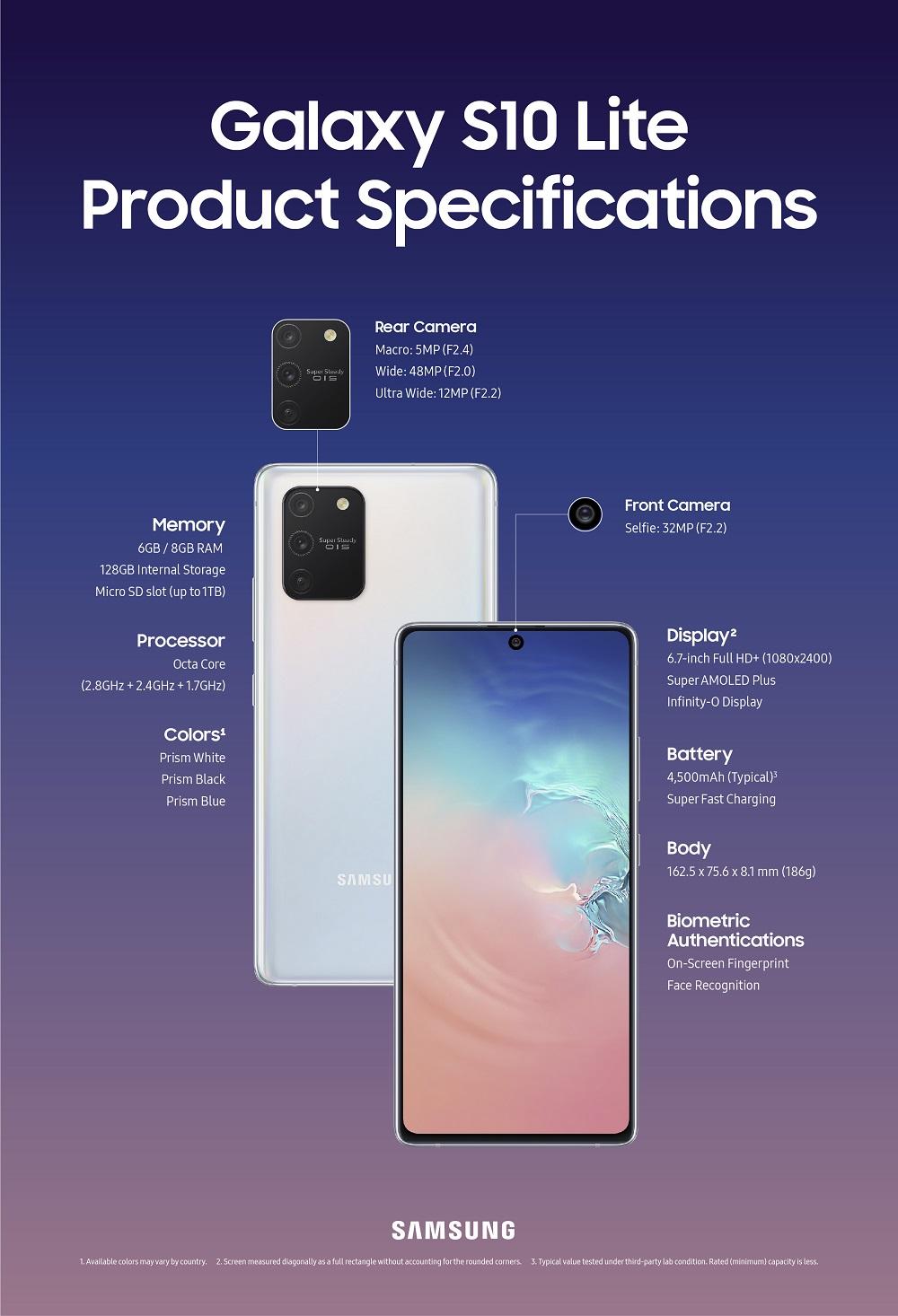 Samsung GALAXY S10 Lite specificatii