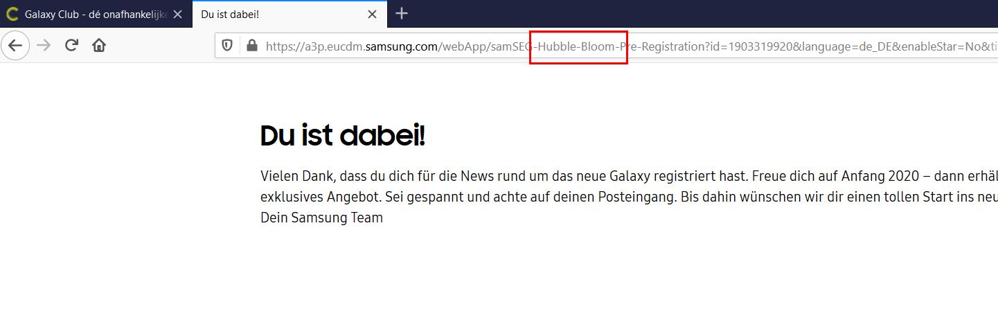 Samsung GALAXY S11 s20 confirmari nume cod