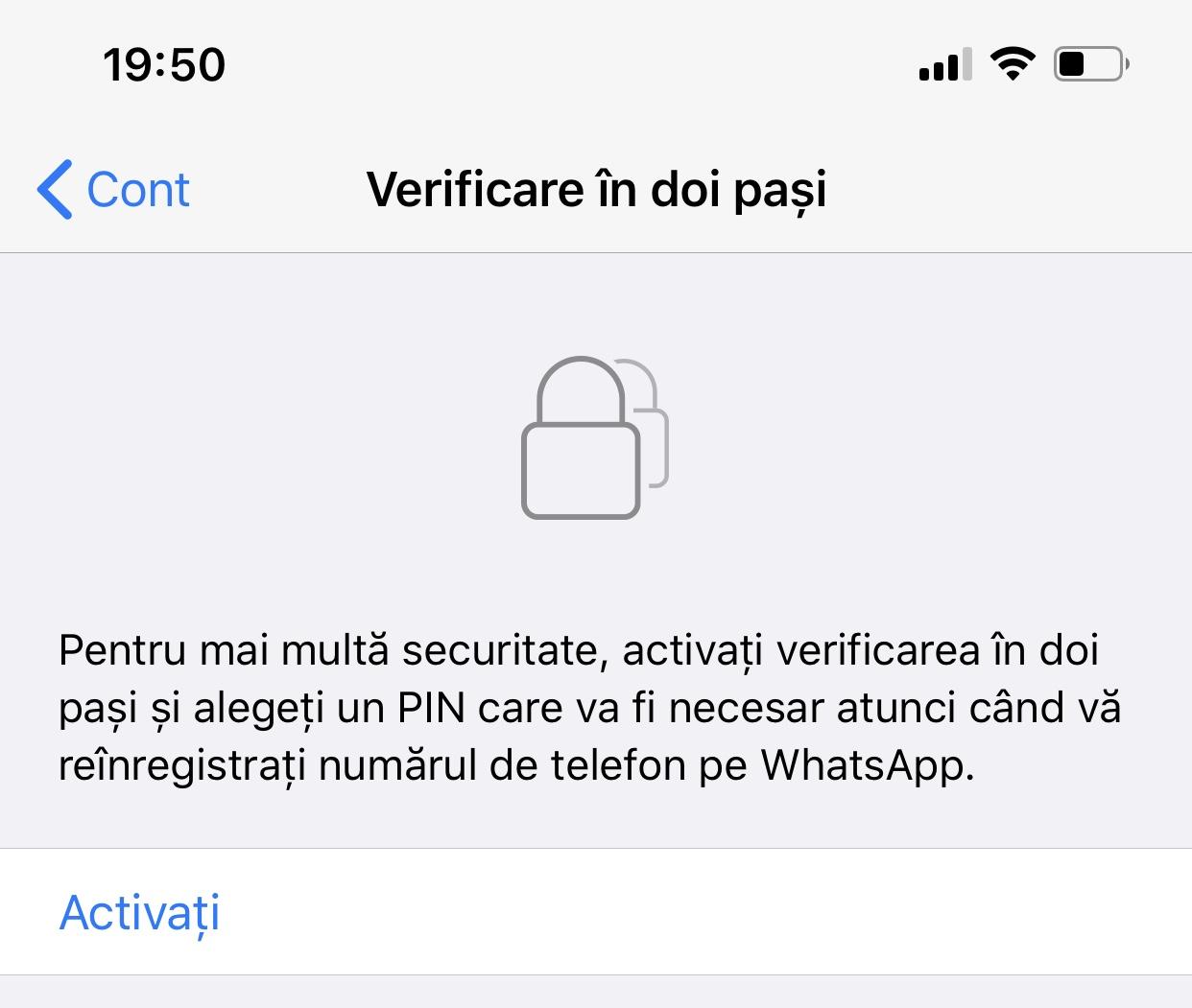 WhatsApp protectie cont