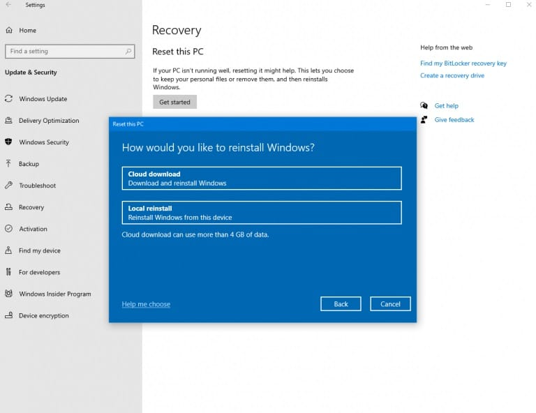 Windows 10 cloud download