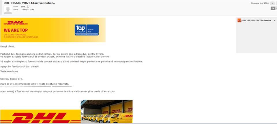 phishing DHL romania