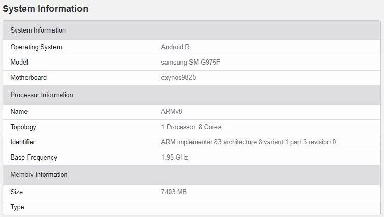 Android 11 Samsung GALAXY S10 Plus geekbench