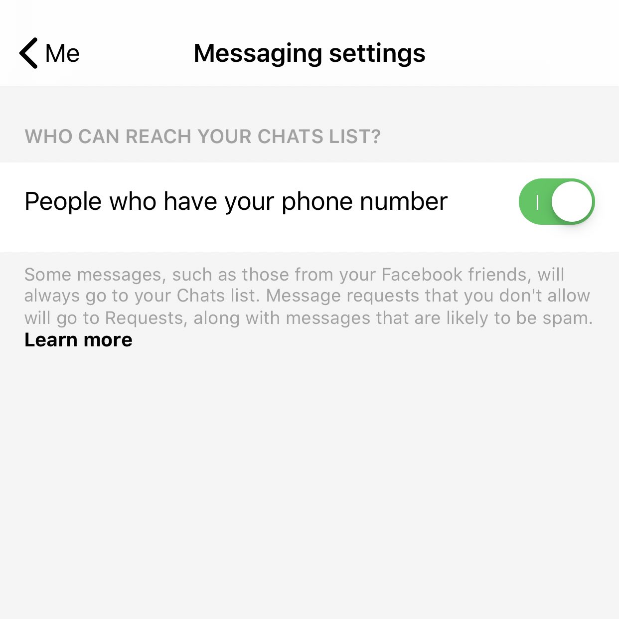 Facebook Messenger chat list necunoscuti