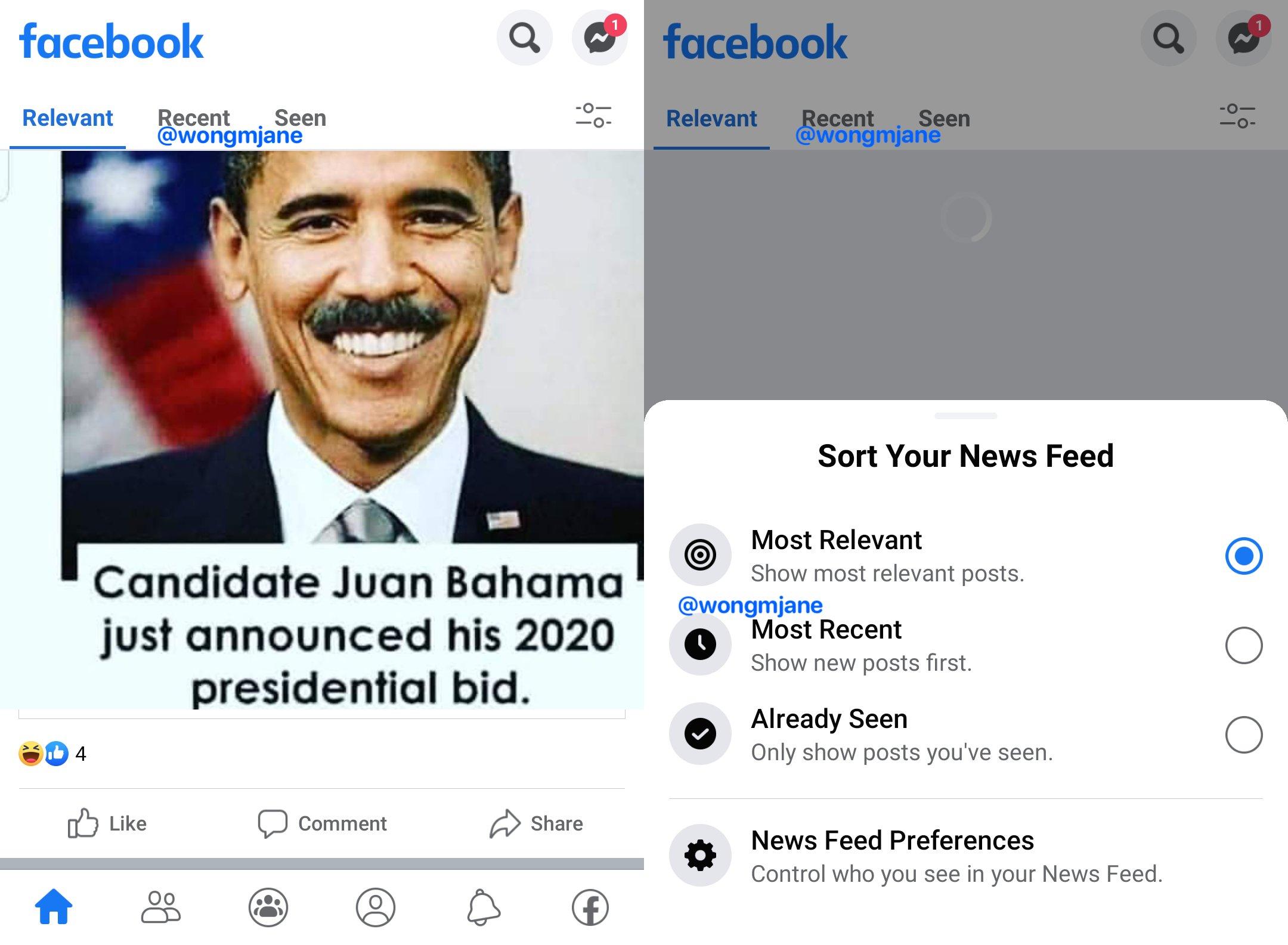 Facebook sortare news feed
