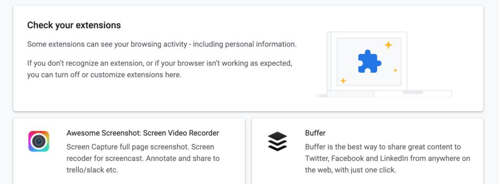 Google Chrome revizuire extensii