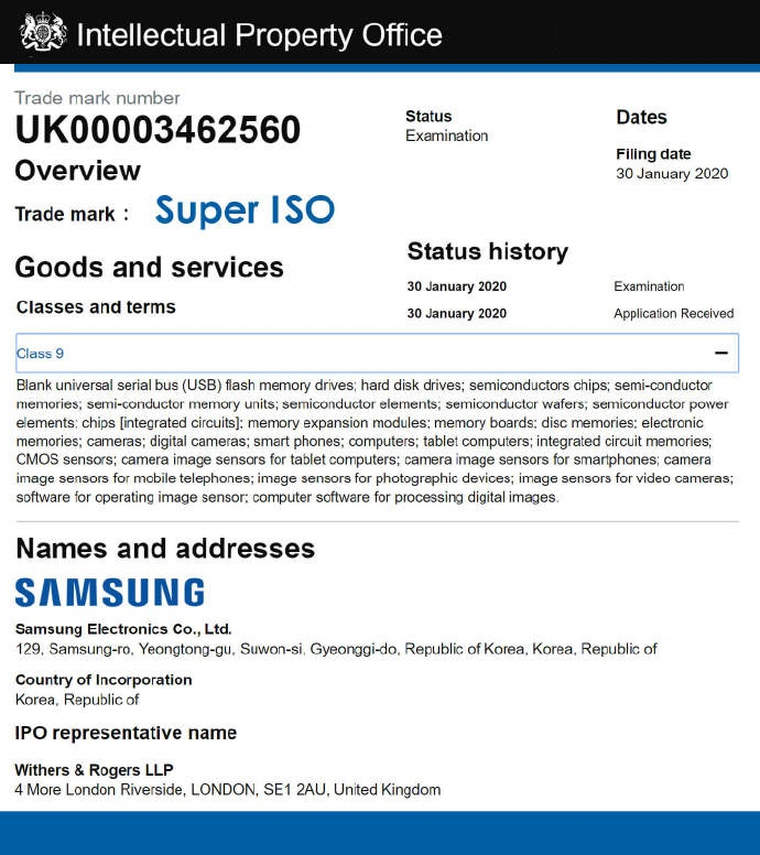 Samsung GALAXY S20 Plus camera Super ISO
