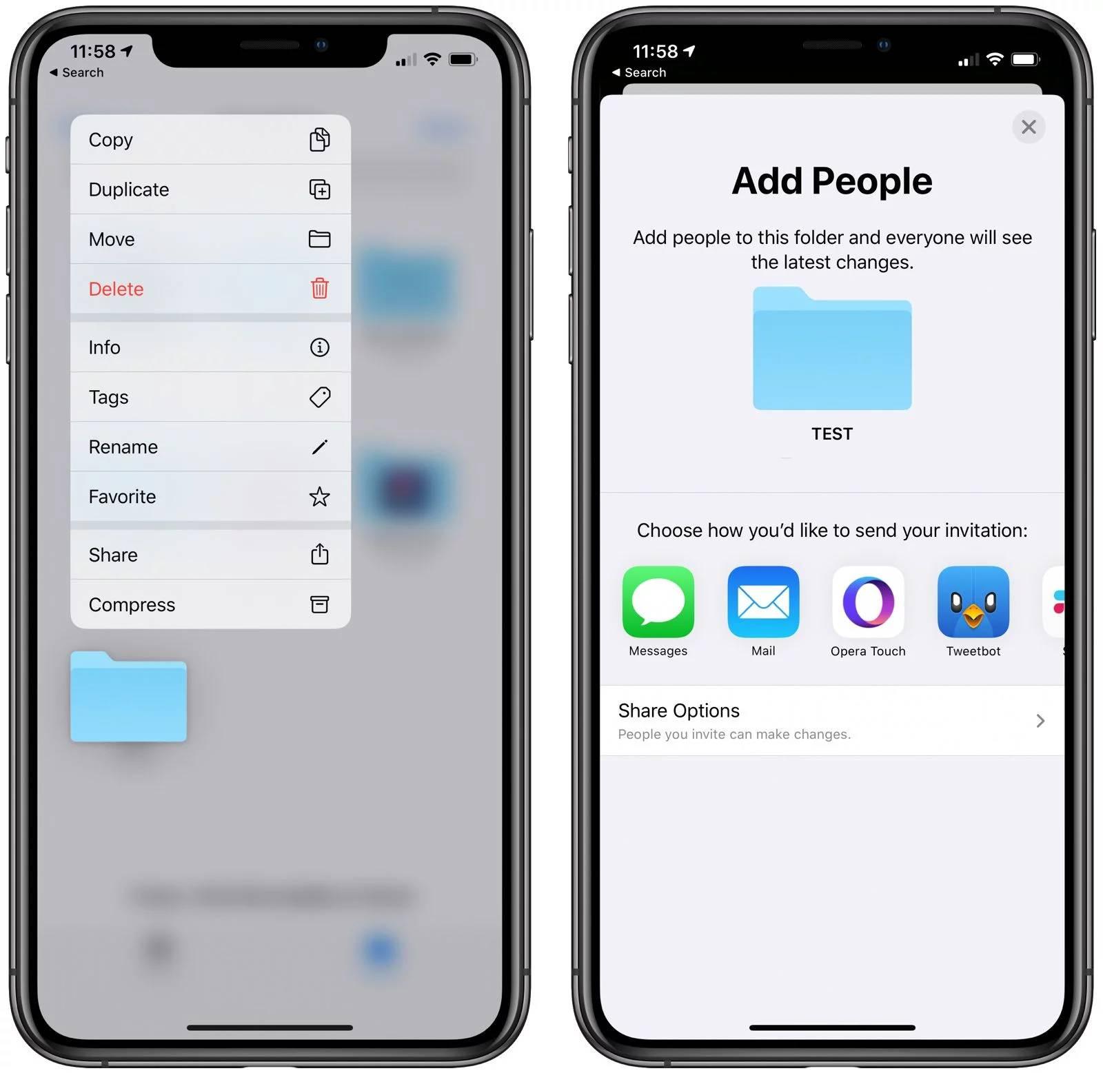 iOS 13.4 functie icloud folder sharing