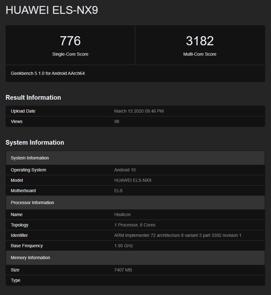 Huawei P40 Pro geekbench test