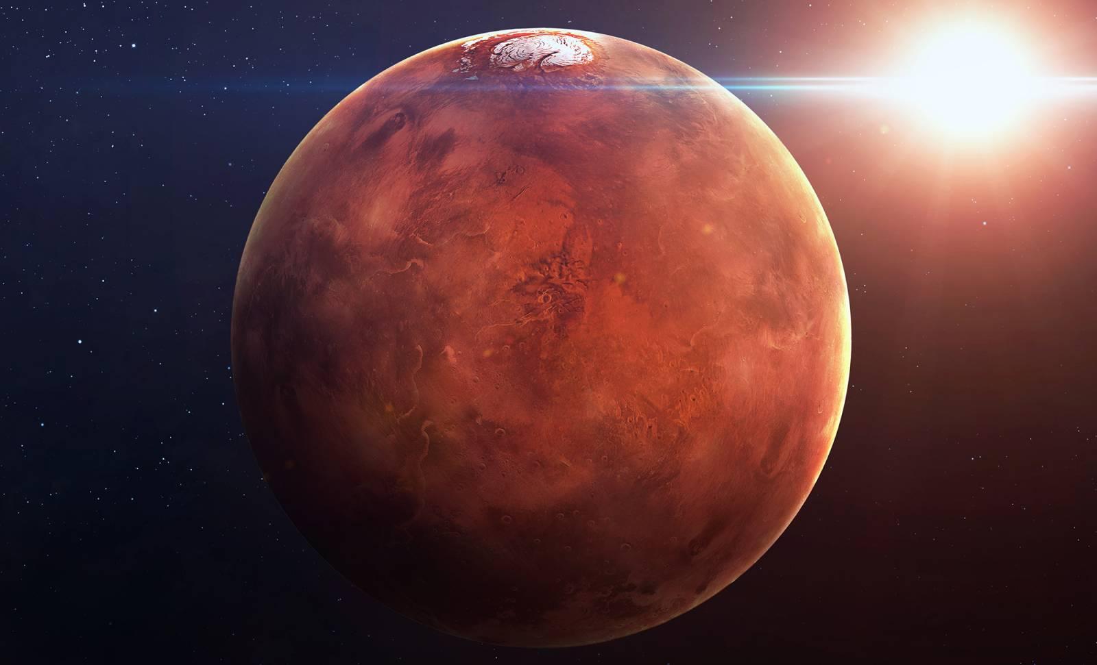 Planeta Marte avalansa