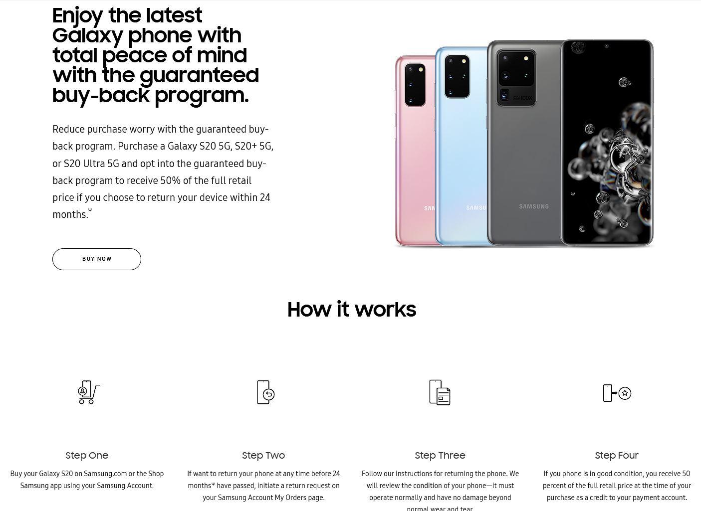 Samsung galaxy s20 buy back garantat