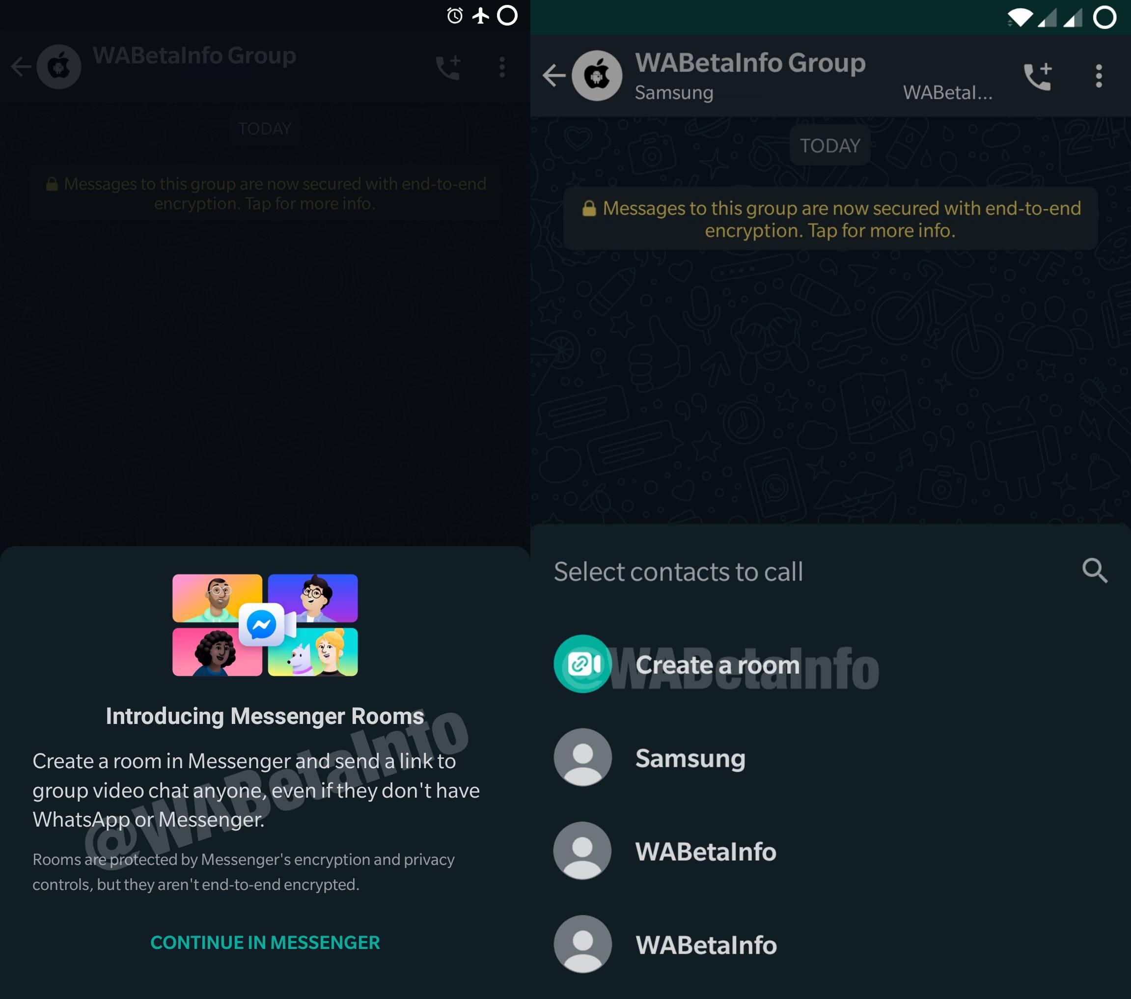 WhatsApp rooms interfata