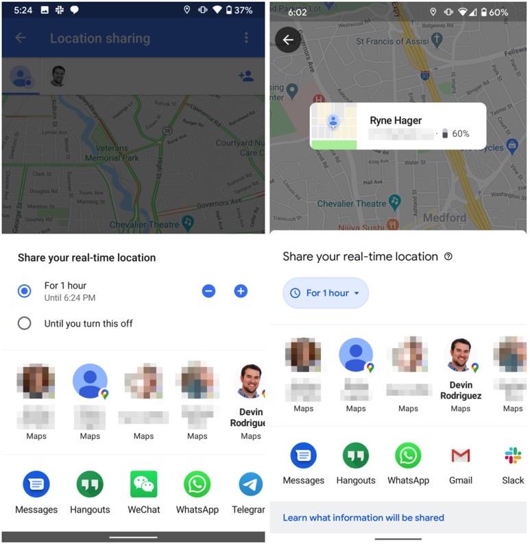 google maps interfata partajare locatie