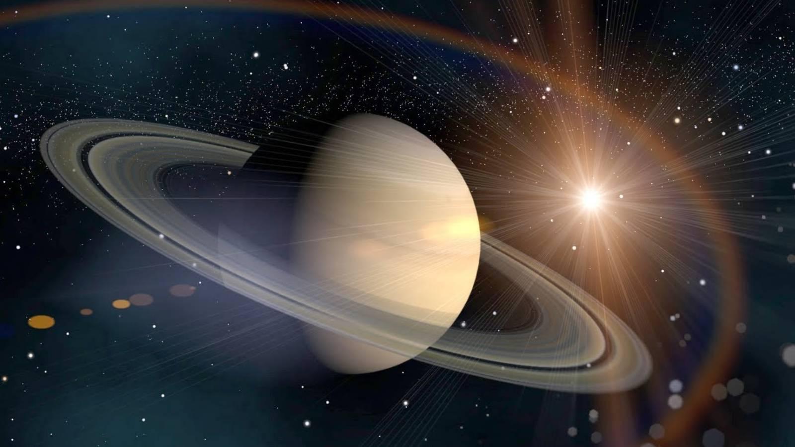 Planeta Saturn indepartare