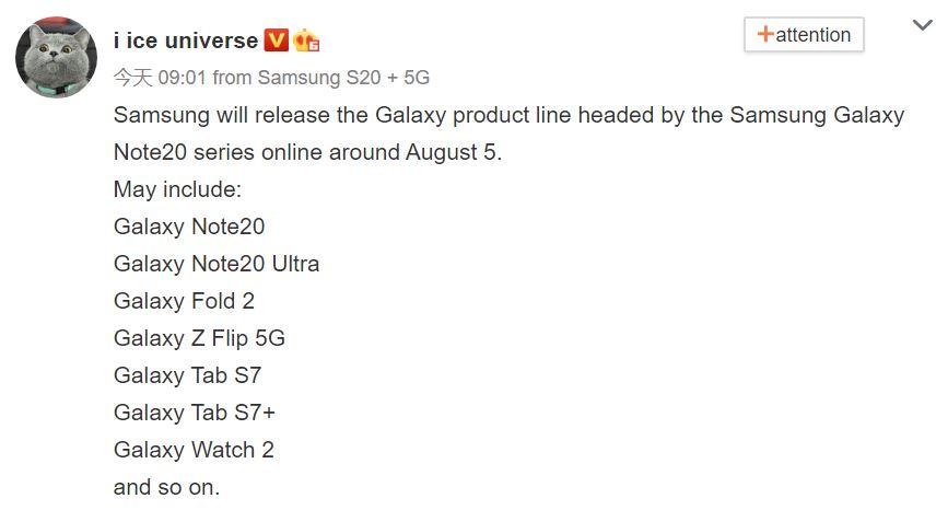Samsung GALAXY NOTE 20 august lansare