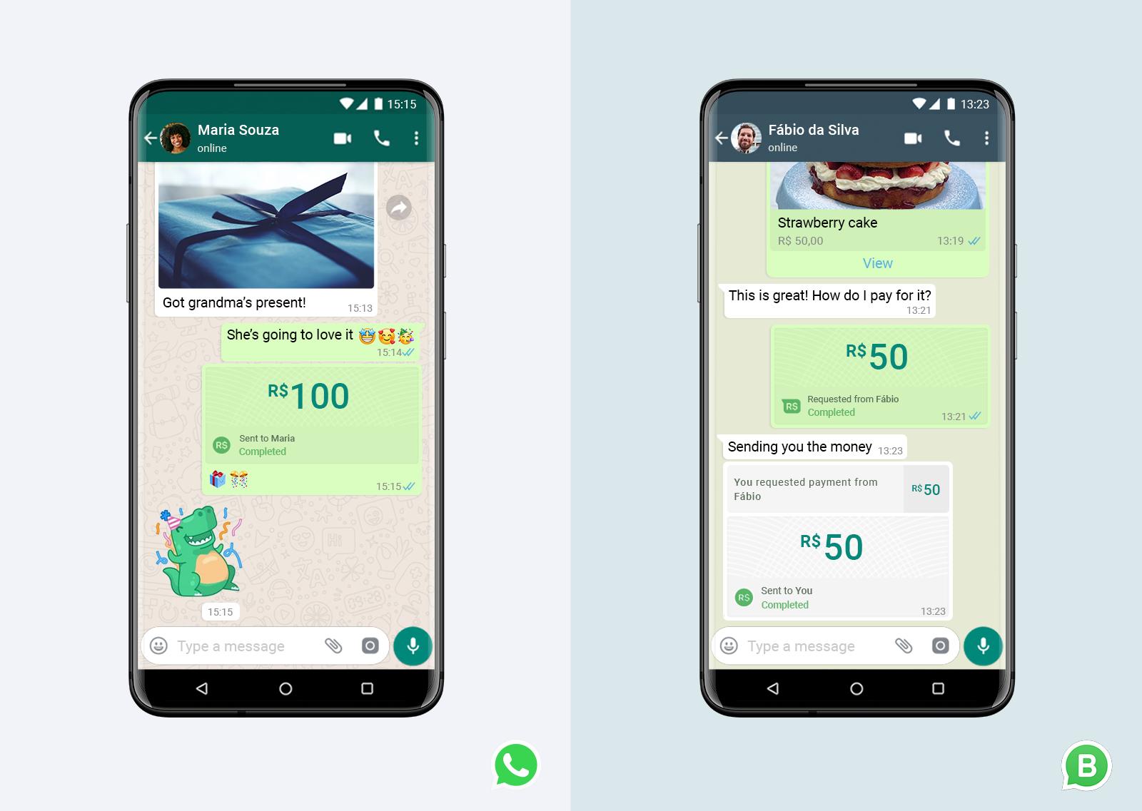 WhatsApp transferare bani