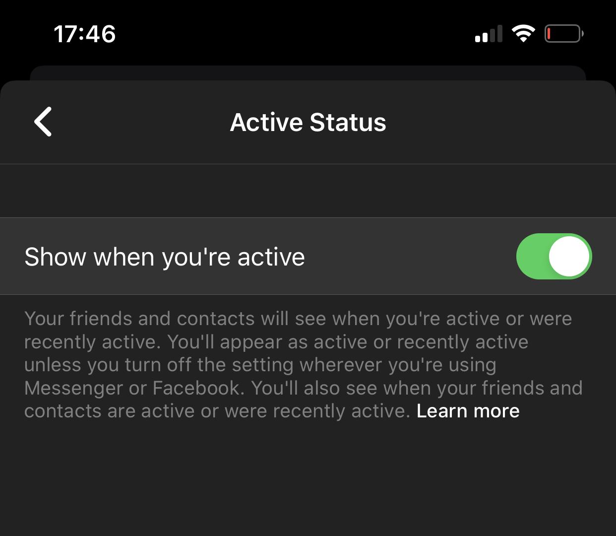 Facebook Messenger activ dezactivare