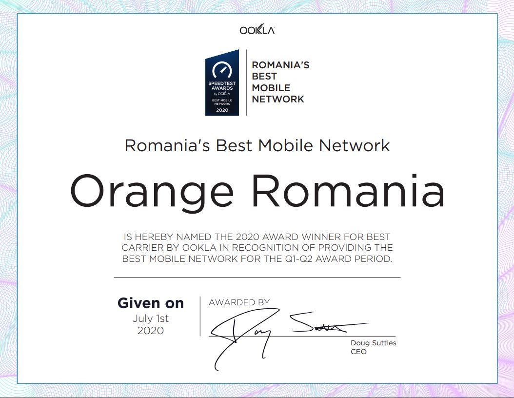 Orange Romania speedtest certificare