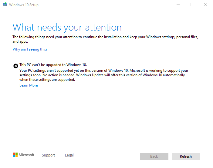 Windows 10 incompatibilitati eroare