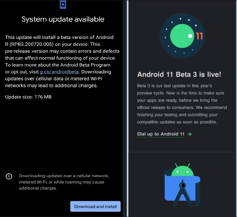 Android 11 Google beta 3 telefoane