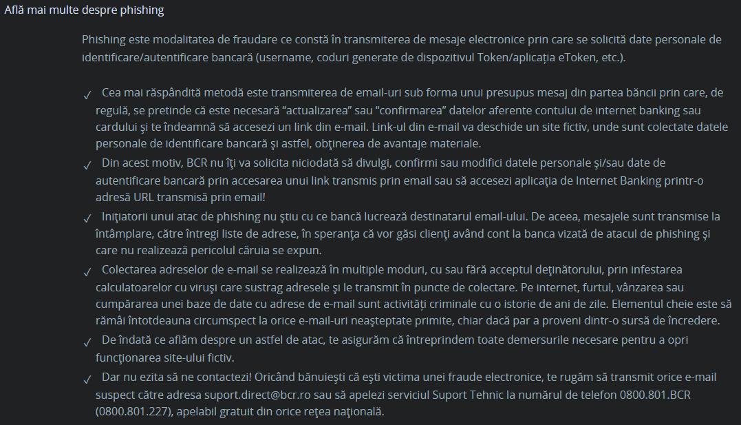 BCR Romania identificare phishing