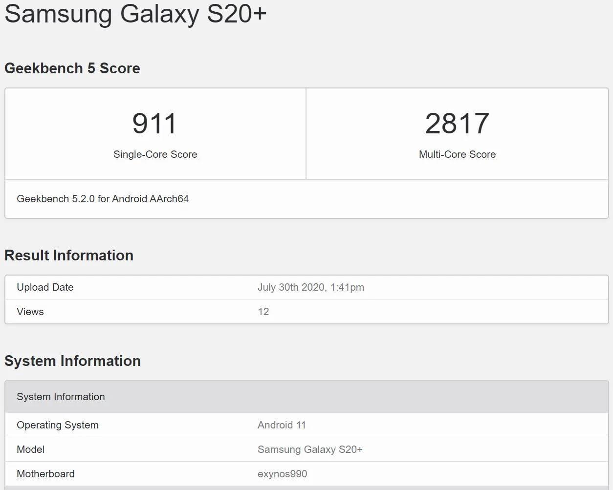 Samsung GALAXY S20 Plus geekbench listat