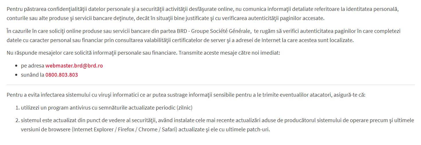 BRD Romania protejare clienti