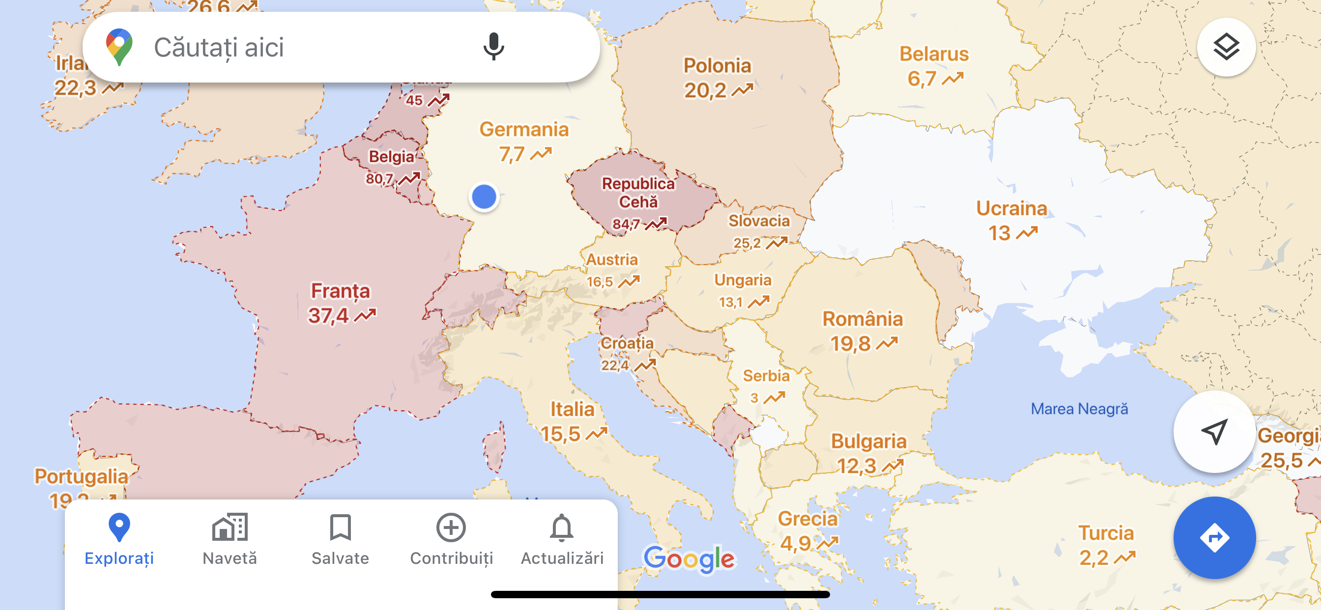 Google maps sars harta