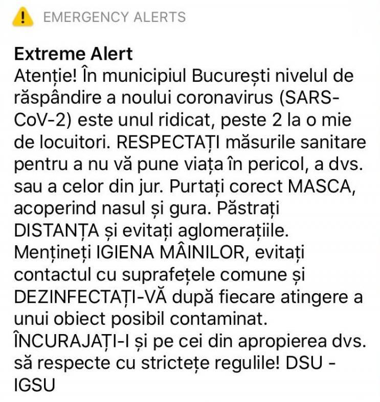 RO-ALERT avertizare coronavirus Bucuresti
