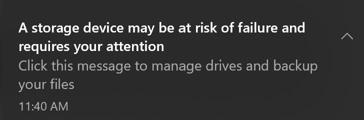 Windows 10 nvme alerta