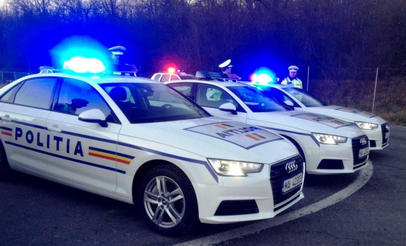 Politia Romana atentionare cauciucuri lumini intampinare
