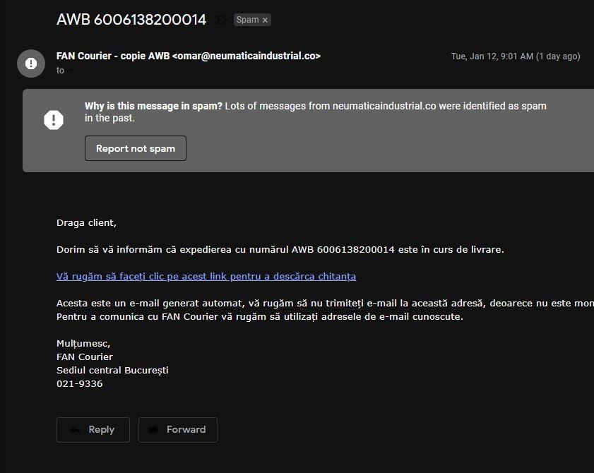 FAN Courier teapa columbia phishing