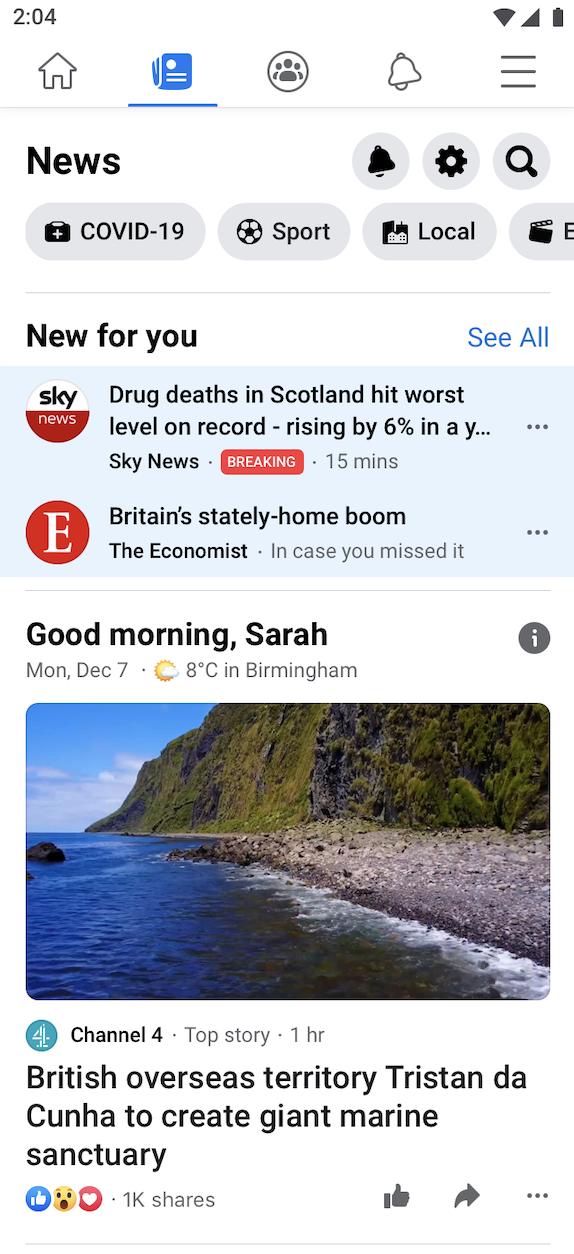 Facebook News marea britanie lansare