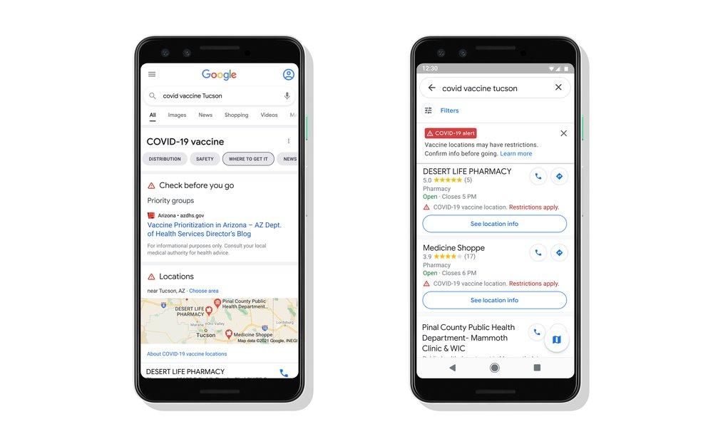 Google Maps Search centrele vaccinare Coronavirus exemplu