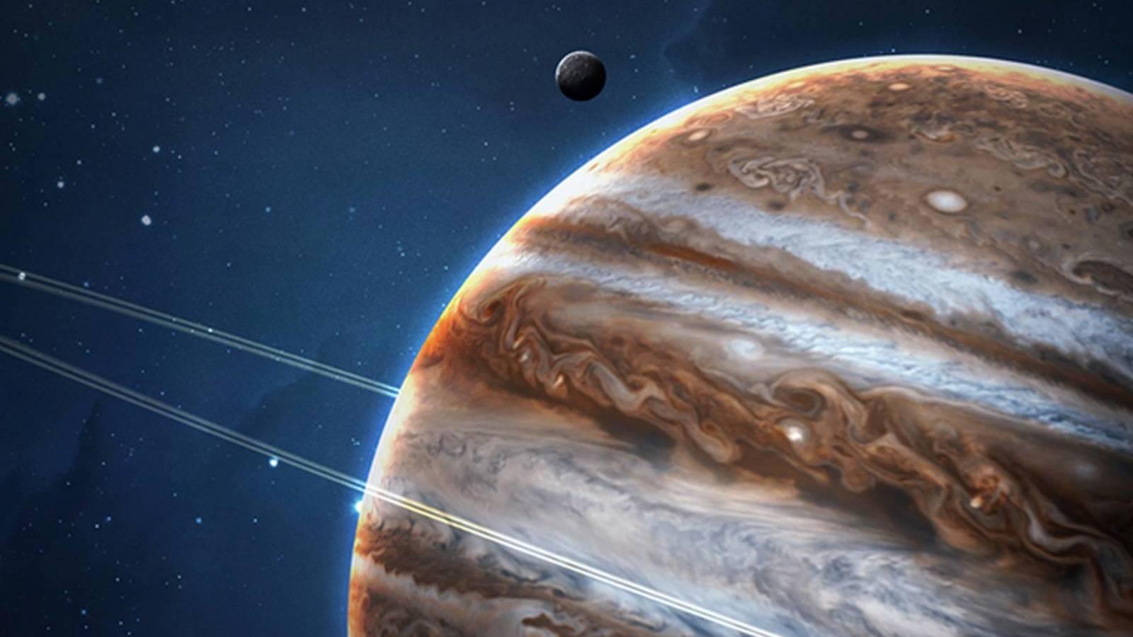 Planeta Jupiter apropiere venus