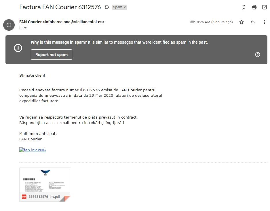 Atentionare FAN Courier atac phishing