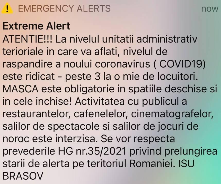 RO-ALERT alerte localitati scenariu rosu brasov