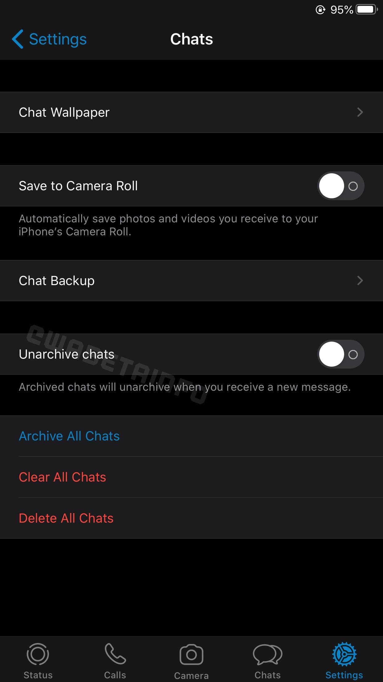 WhatsApp evidentiere optiune