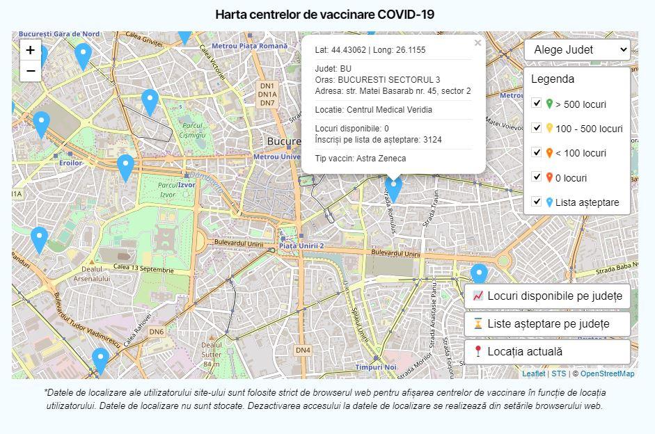 romania tip vaccin centru vaccinare harta
